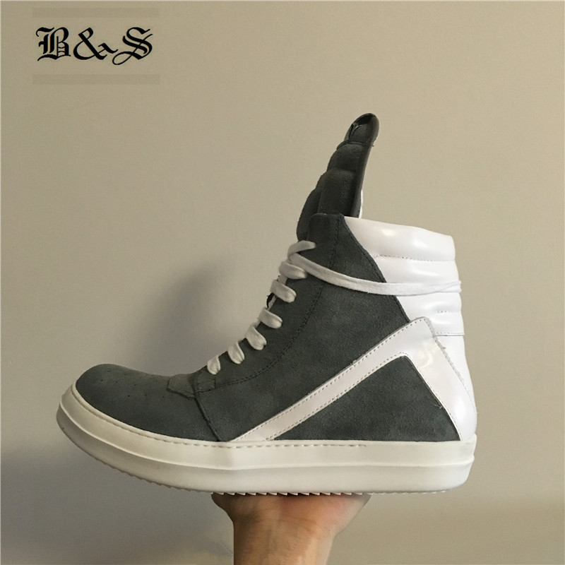 Black& Street Men High-TOP Ankle Boots Genuine Leather Luxury Gray Color Trainers Boots Casual Lace-up Cow Leather Hip-Hop Boots high top leather sneakers men casual shoes fashion luxury trainers ankle boots lace up casual sneaker brand zipper hip hop shoes