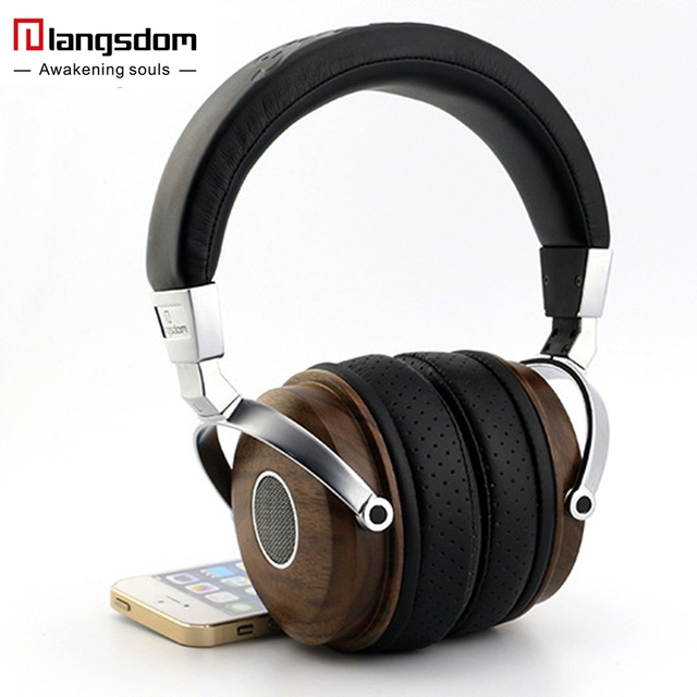 f6cea4a32935b5 Original Langsdom FA890 Hifi Headphone Natural Wooden Earphone Soft Leather  Ear-cups Man Noise Isolation