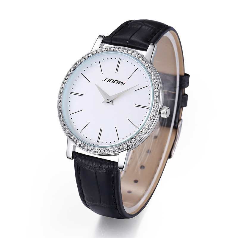 SINOBI Hot ! Simple Diamond  Dial Leather Quartz Watch Women  Saat Fashion Shockproof Waterproof Women Watches Reloj Mujer XFCS