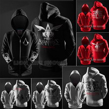 3 colors 4 Style Spring Autumn Men Assassin's Creed Zipper section Cosplay Assassins Creed Hooded Hoodie Black Red Grey S-XXL