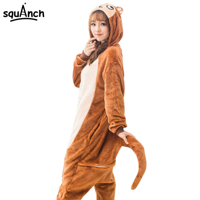 15bf0ac5ce Women Onesie Animal Pajama Brown Monkey Pajamas Party Jumpsuit Female Adult  Cartoon Characters Costume Winter Soft Warm Outfit