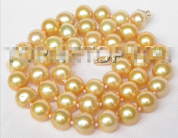 Eternal wedding Women Gift word 925 Sterling silver real 925 silver real natural big BAROQUE 17″ 10MM EN YELLOW SOUTH SEA PEARL