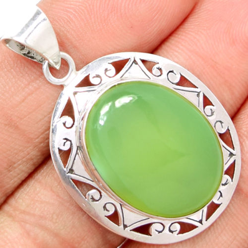 Genuine Aqua Chalcedony Pendant 100% 925 Solid Sterling Silver Jewelry Jewellery AP0505