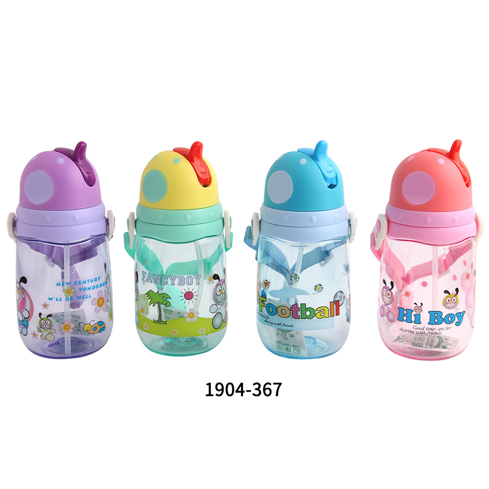 400ML Leakproof  Straw Type Cartoon Kids Prevent Choking Drinking Water Bottles BPA Free(China)