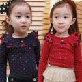 Free shipping!Hot sale 2015 Spring and autumn child clothes,baby girls t-shirt,Casual,Polka Dot Long sleeve girls clothing.tops