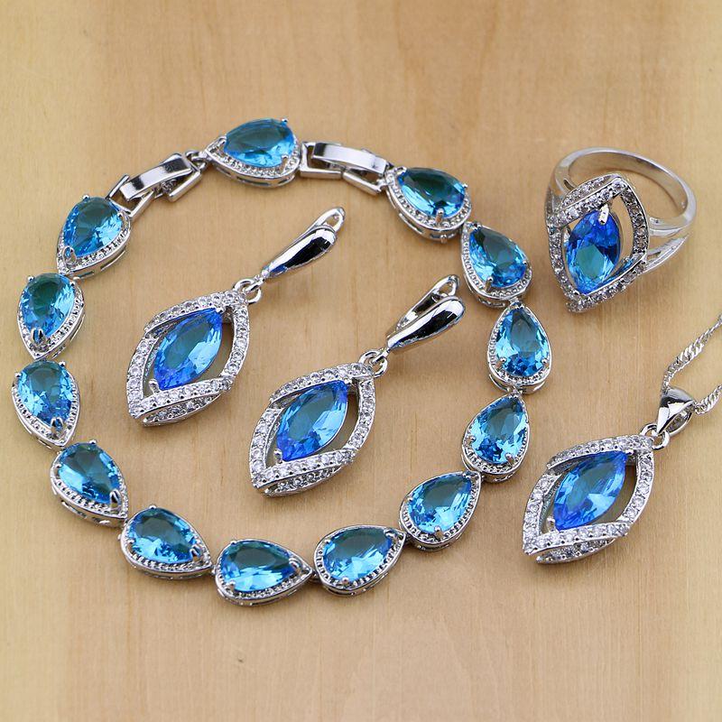 Brautschmuck Sets Herrlich Rhombischen Blau Kristall Weiß Zirkon 925 Sterling Silber Schmuck Sets Frauen Ohrringe/anhänger/halskette/ring/armband Hochzeits- & Verlobungs-schmuck