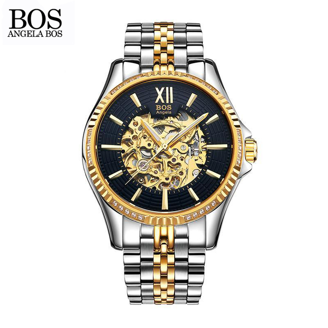 567e2083f ANGELA BOS Business Gold Automatic Mechanical Watch Black Stainless Steel  Skeleton Mens Designer Watches Luxury Watch Waterproof