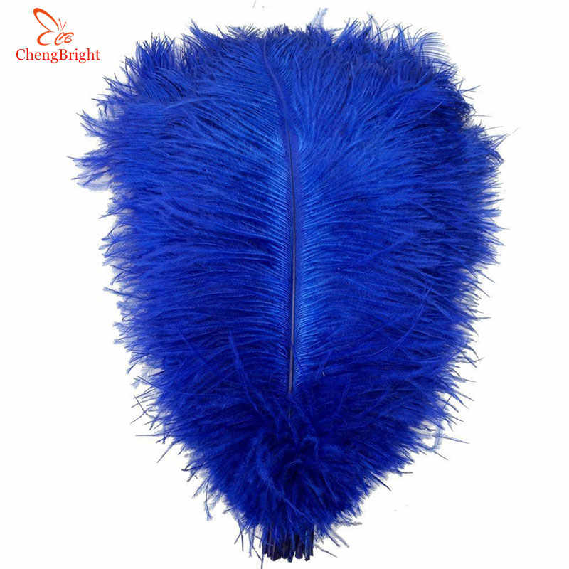ChengBright 10 pçs/lote azul Royal Avestruz Penas Para Artesanato 15-75CM Fantasias de Carnaval Festa Em Casa Decorações de Casamento Plumas