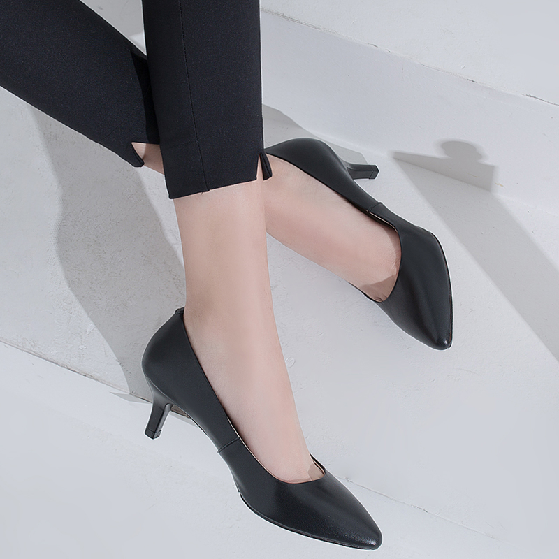 SARAIRIS Woman Shoes Thin Heels Pointed-Toe Elegant Sexy Genuine-Leather Pumps New Cow