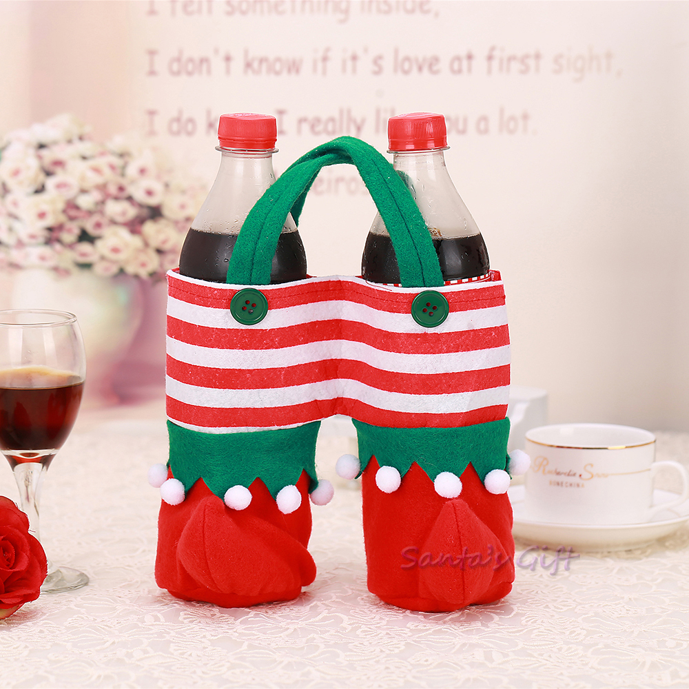 Cute santa claus towel christmas decor - 2015 New Christmas Wine Bottle Cover Towel Table Decoration Wine Bottle Holder Letter Bag Santa Claus Snowman Gift Festive Party In Wine Bottle Covers From