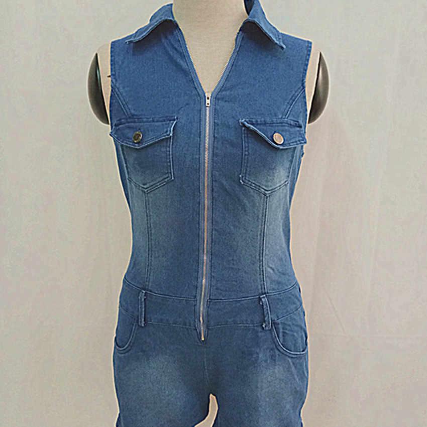Новый Модный летний сексуальный джинсовый женский комбинезон женский облегающий элегантный джинсовый комбинезон Повседневный джинсовый комбинезон
