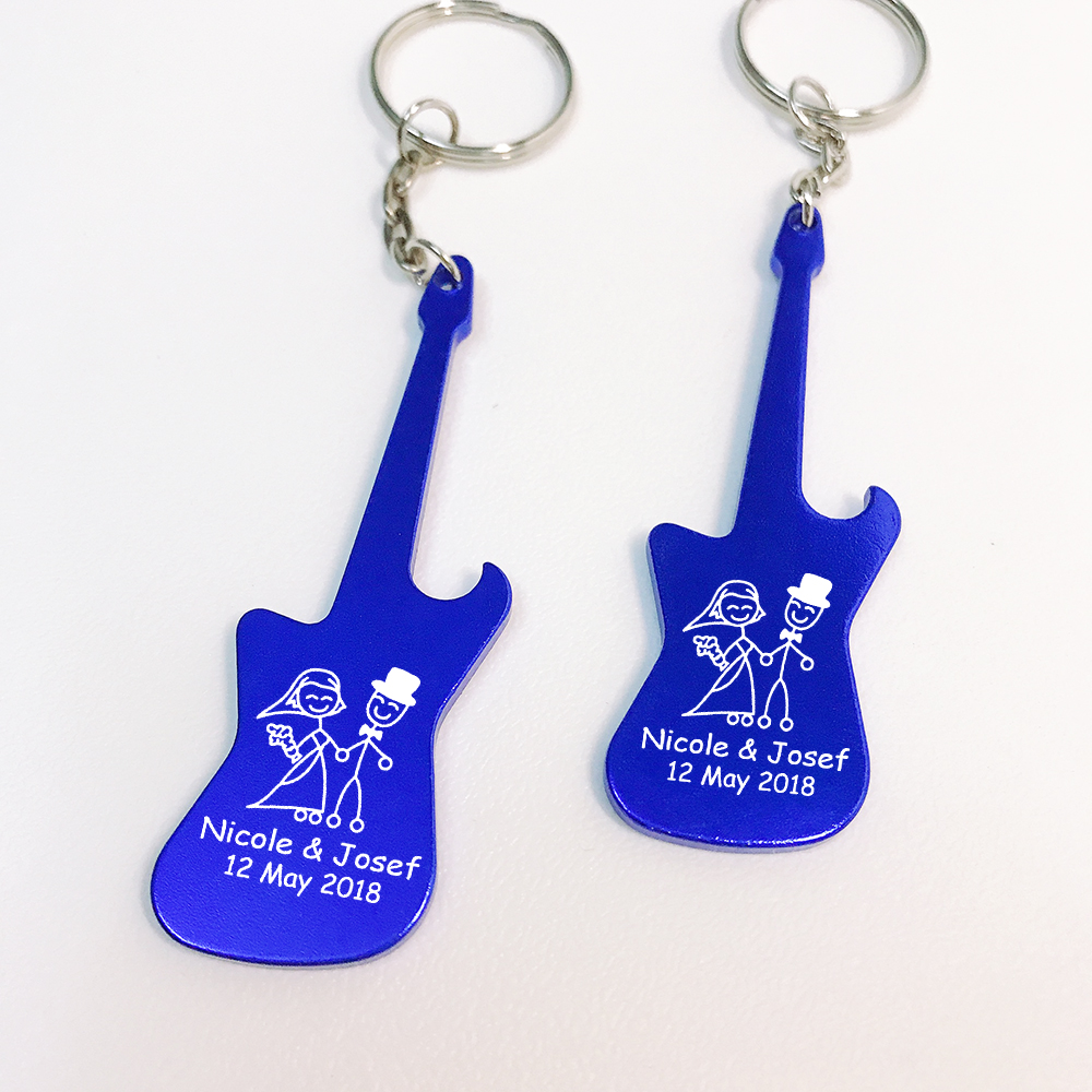 Personalized Wedding Party Favor Guitar Shaped Bottle Opener Keychain Keyring Custom Bride Groom Names Wedding Gift