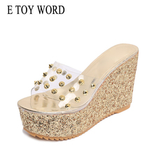 цены на E TOY WORD 2019 Summer transparent slippers Platform Waterproof Shoes Woman Wedge shiny glitter Slippers fashion high heels  в интернет-магазинах