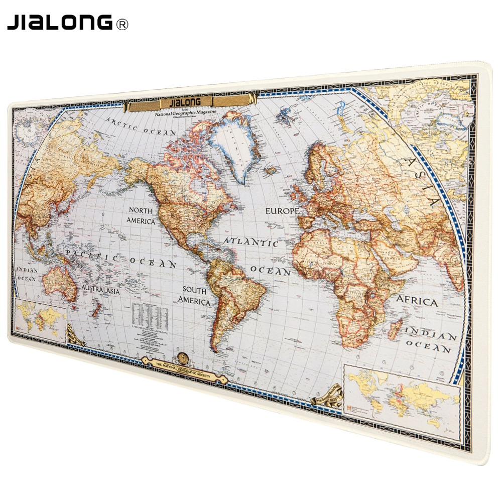 JIALONG World Map Gaming Mouse Pad Large Size Mousepad Extended Water-resistant Anti-slip Rubber Speed Gaming Game Mouse Pad Mat Зарядное устройство