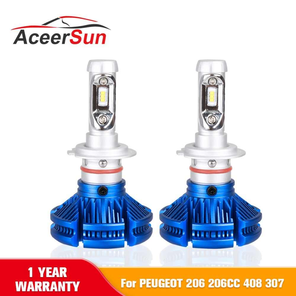 H7 LED Car Light Bulb Headlight Bulbs 50W 12000LM ZES Auto Led Headlamp 12v 24v Headlights for PEUGEOT 206 206CC 408 307