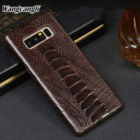 Wangcangli Luxury phone case for Samsung note 8 rare ostrich foot skin phone protection back shell Genuine Leather phone cover