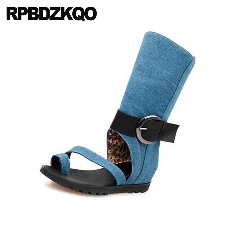 a615cb99b ... Botas De Mezclilla Azul Punta Abierta Negro Botas Británico Zapatos  Mujer Marca Fábrica Lujo Calza A