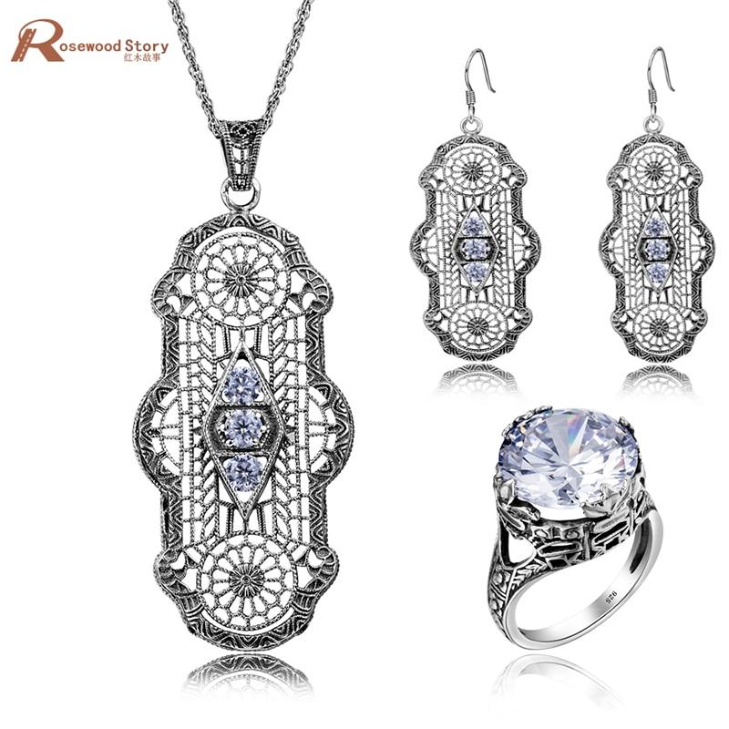 Breloque à la mode rétro blanc zircone australie 925 bijoux en argent Sterling ensembles boucles d'oreilles goutte pendentif/anneau pour les femmes boîte-cadeau gratuite