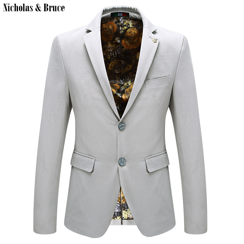 N&B Men Suit Jacket 2019 American Man Dress Blazers Slim Fit Casual Coats Solid Tuxedo Cotton Men's Jackets For Weddings SR7