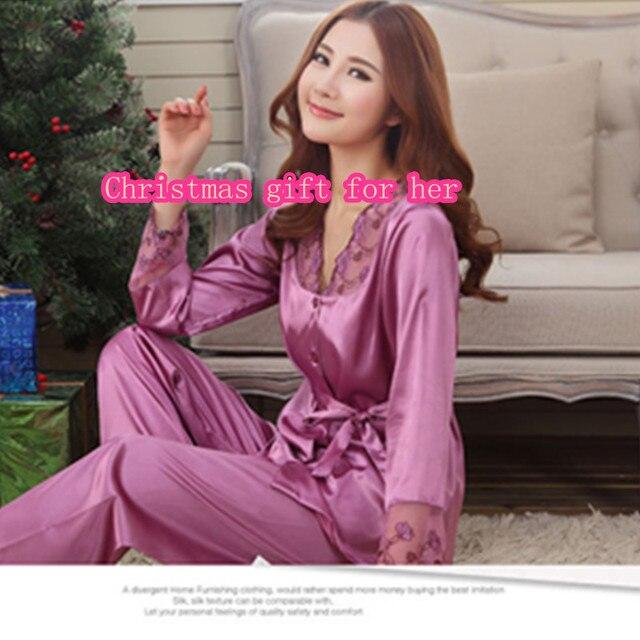 Longitud de los Pantalones de Pijama de seda Conjunto Amantes de la ropa de Noche de Invierno Auntumn Leisure Lounge Set Pijamas de Las Mujeres M, L, XL, XXL