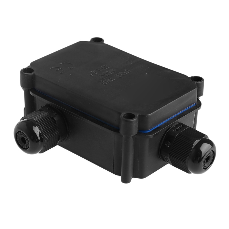 OOTDTY Black Waterproof IP66 Plastic Cable Wire Connector Gland Electrical Junction Box