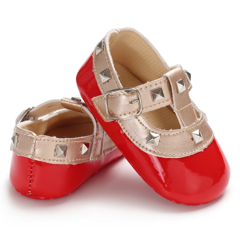 Fashion Autumn Winter Stitching Rivet Princess Shoes Cute Baby Girl Soft Soled PU Shoes Infant Walking Dress Cradle Shoe
