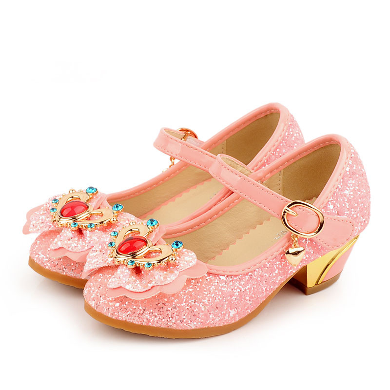 Girls Princess Shoes Kids High Heels Sandals Glitter Crystal Model Dance Dress Weddings Children Fashion Sequins Leather Party