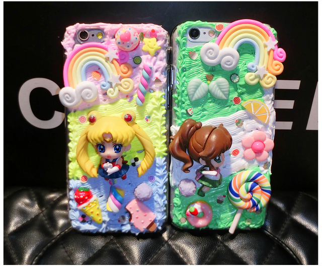 new product b598f da1f0 US $15.0 |Yellow Anime Girl 3D Anime Cartoon Kawaii Decoden Whipped Cream  Phone Case for galaxy s6 s8 S7 edge for phone 6s 7plus-in Rhinestone Cases  ...