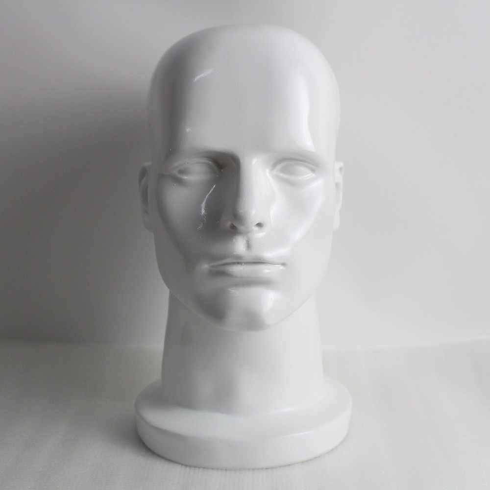 White Fiberglass Male Mannequin Head For Sunglass Wig And Hat Disply
