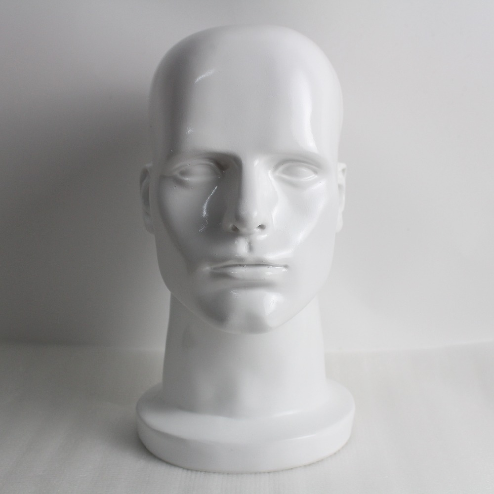 White Fiberglass Male Mannequin Head For Sunglass Wig And