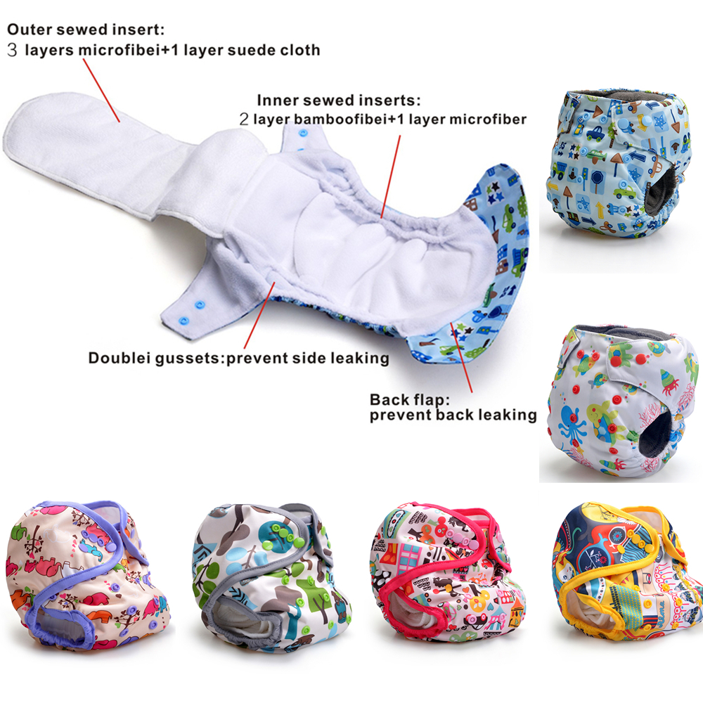 Baby Heavy Wetter Night AIO AI2 Diapers cheap and Wholesale Kawaii Diapers Double Gussets Suede Cloth Or Bamboo Charcoal Inner