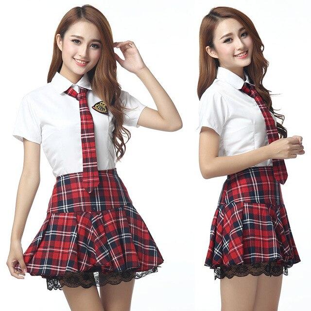 0efaf5cc8dc28 Manga corta japonés uniforme escolar marinero rojo tibetano azul falda a cuadros  uniformes Corea trajes
