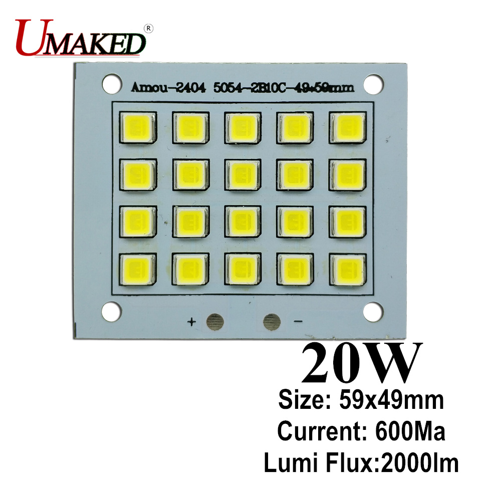 20W 59x49mm LED Floodlight PCB board, 2000lm LED SMD5054 lighting source for led floodlight, Aluminum plate base board