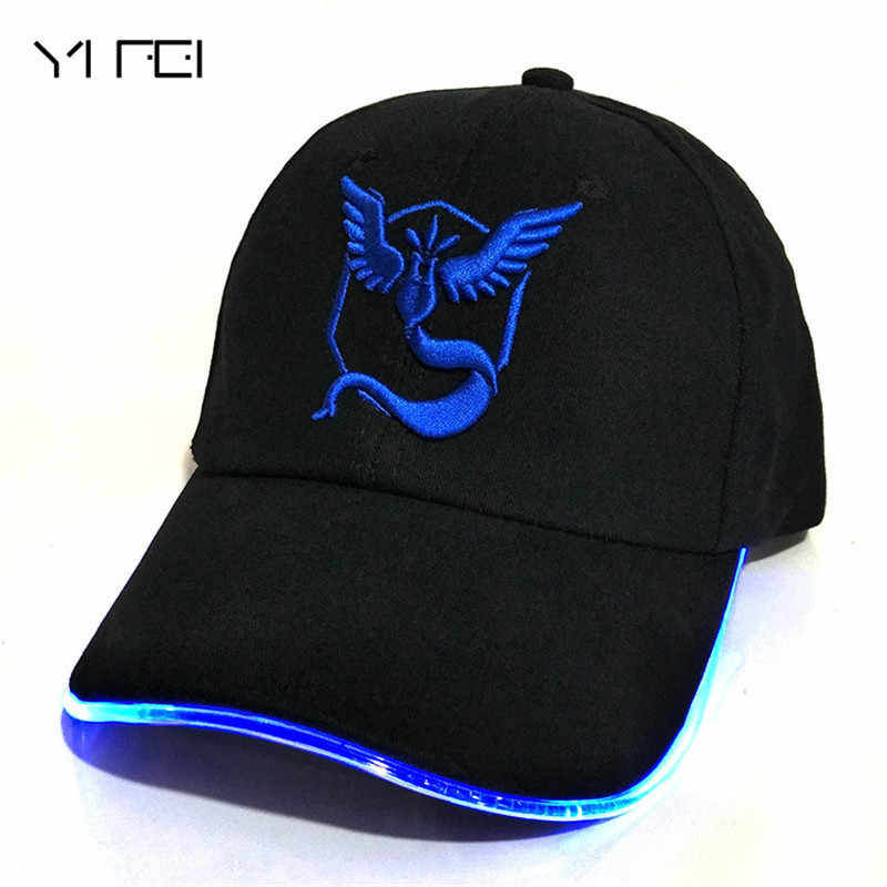 LED Pokemon GO Baseball Caps 100% Cotton Pocket Monster luminous hat for Women Mens Cartoon embroidered hip hop cap