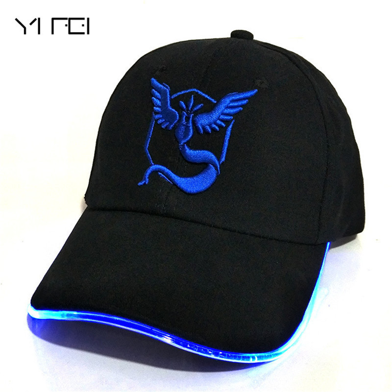 LED Pokemon GO Baseball Caps 100% Cotton Pocket Monster luminous hat for Women Mens Cartoon embroidered hip hop cap new cartoon pikachu cosplay cap black novelty anime pocket monster ladies dress pokemon go hat charms costume props baseball cap