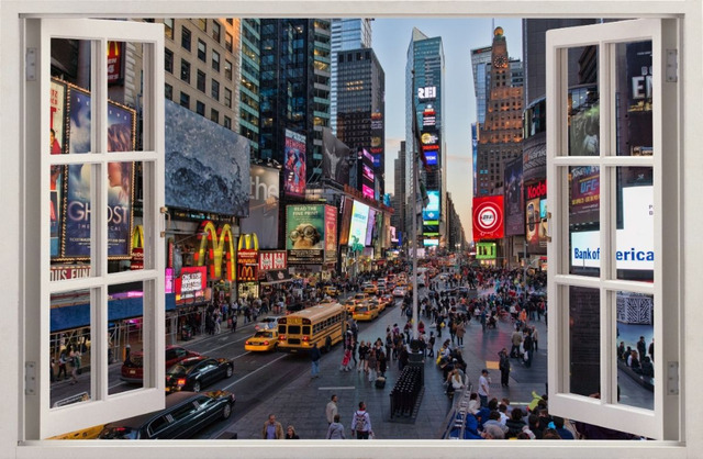 Awesome 3D Effect Window WALL STICKERS NEW YORK Times Square Sticker Decor Mural Part 20