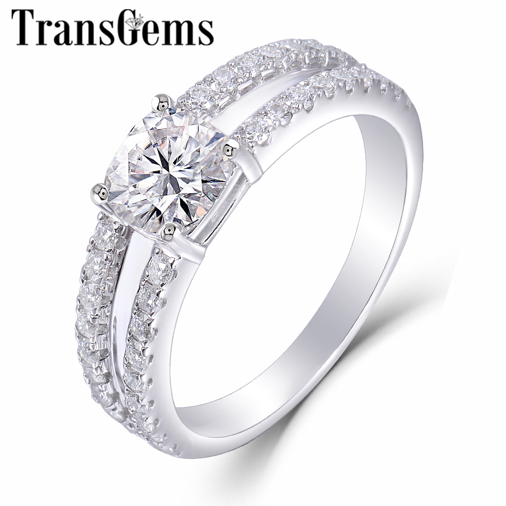TransGem 14K 585 White Gold Center 1 1ct 6 6mm F Color Cushion Cut Moissanite Engagement