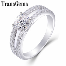 TransGem 14K 585 White Gold Center 1.1ct 6*6mm F Color Cushion Cut Moissanite Engagement Ring with a Split Shank Birthday Gifts