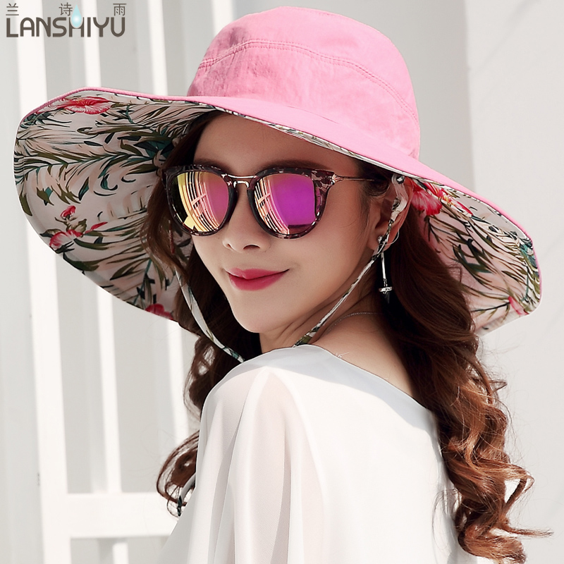 f3f4ae3a9c4 Summer large brim beach sun hats for women UV protection women caps hat  with big head foldable style fashion lady s sun hat-in Sun Hats from  Apparel ...