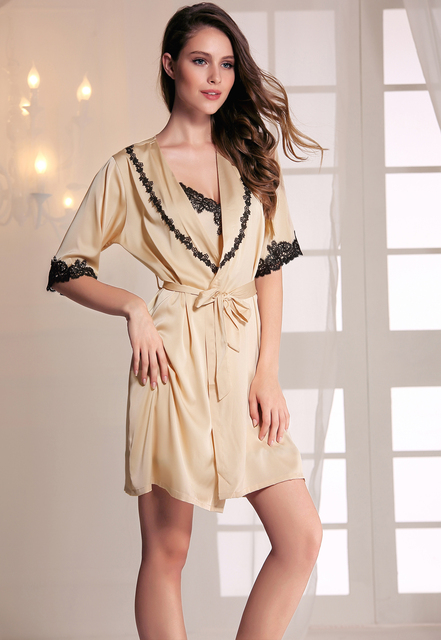 Sexy Kimonos Women Nightwear Faux Silk Robe With Sashes Lace 5 Colors Satin Half Sleeves Bathrobe Ladies Spring Nightwear Robes