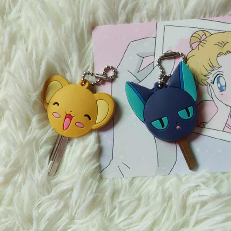 Anime japonês Sailor Moon Chave Kinomoto Tampa Desenhos Animados do Kawaii Chaveiros Chave de Silicone Tampas Cap Cosplay Chaveiro de Borracha Pug