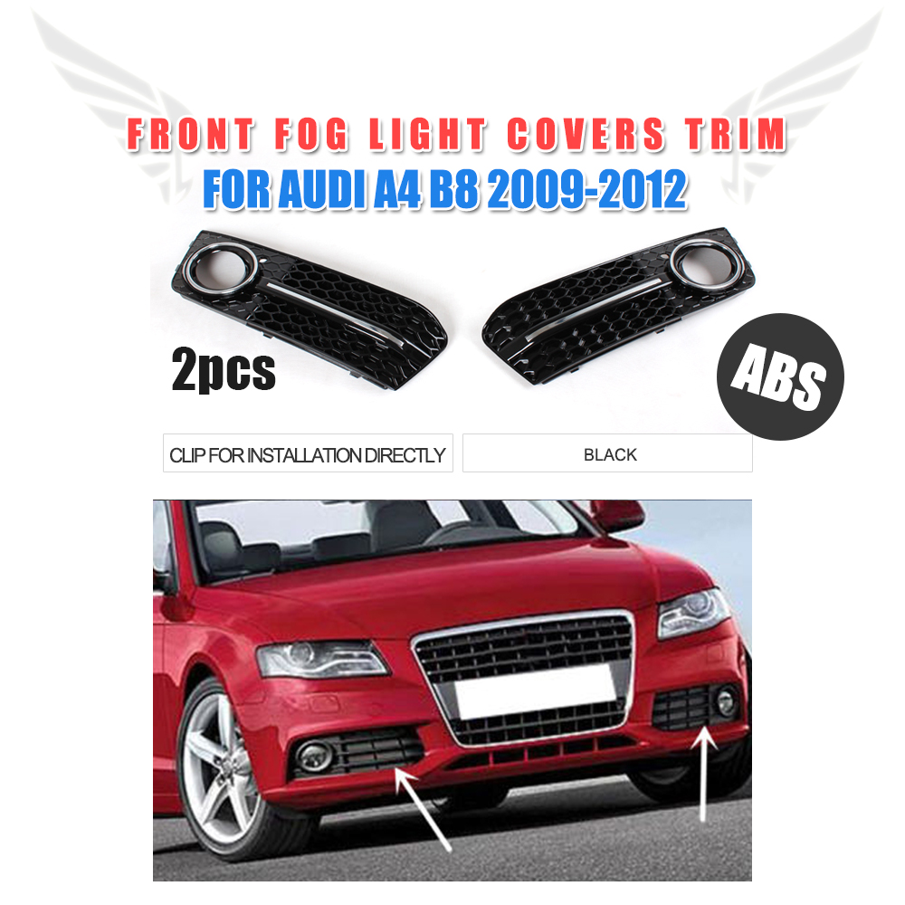 2PCS/Set ABS Front Fog Light Covers Lamp Trim Masks Fit For Audi A4 B8 Non-Sline Bumper 2009-2012 Car Styling roewe headlight 550 2009 2013 fit for lhd and rhd free ship roewe fog light 2ps set 2pcs aozoom ballast roewe 550