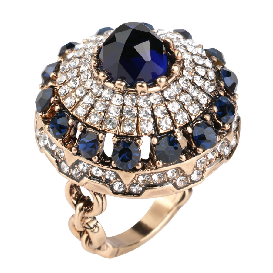 2017 New Luxury Big Crystal Rings For Women Girl Gift Plated Gold Vintage Jewelry Dubai Nobles Antique Ring Anello Donne Anel