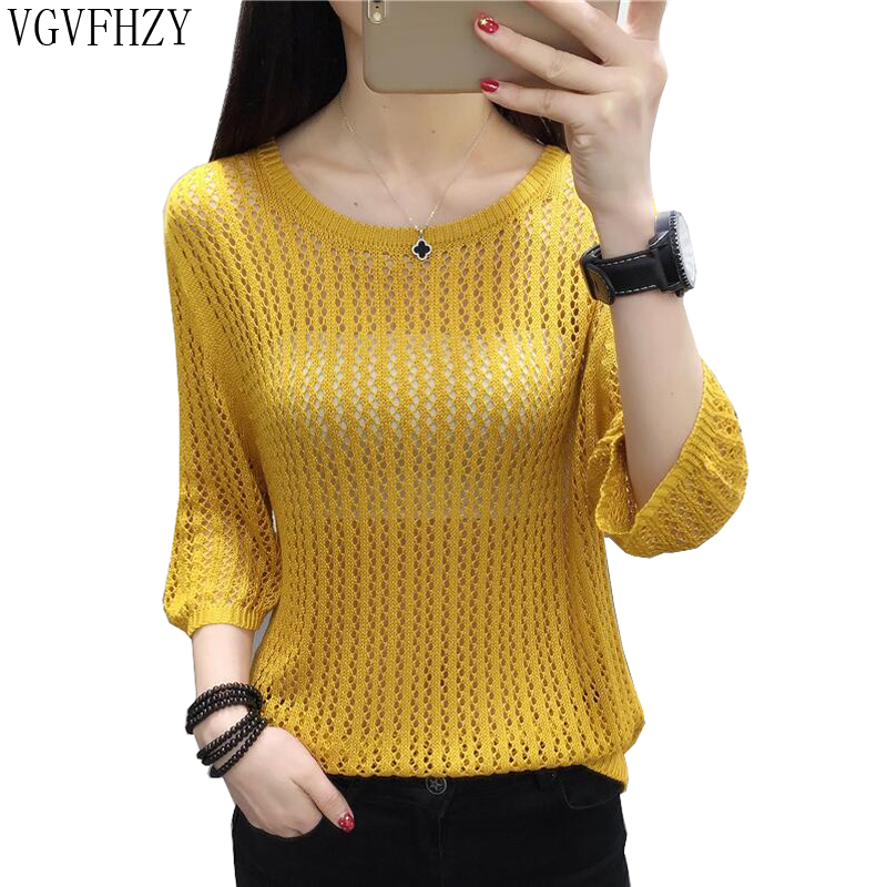 1a6f012fe087 2018 new Sexy Spring and summer Women Basic Pullover Hollow Sweaters Loose  Knit O-neck Solid ...