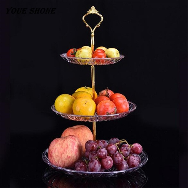 Youe Shone Fruit Rack 3 Tier Steel Layered Free Standing Kitchen Counter Top Cake Tray