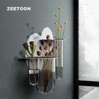 Modern Iron Art Glass Test Tube Hydroponics Succulent Plant Wall Vase Bonsai Flower Pot Creative Home Office Wall Decorations