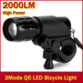 New Bicycle Light 7 Watt 2000 Lumens 3 Mode CREE Q5 LED Bike Light Front Torch Waterproof + Torch Holder