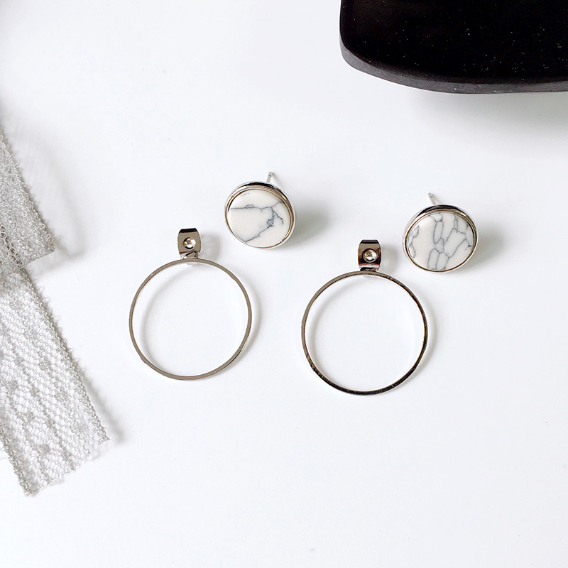 New Arrival Personality marbling Geometric Circle Earings For Women Two Side Temperament Girl In Stud Earrings Fashion Jewelry