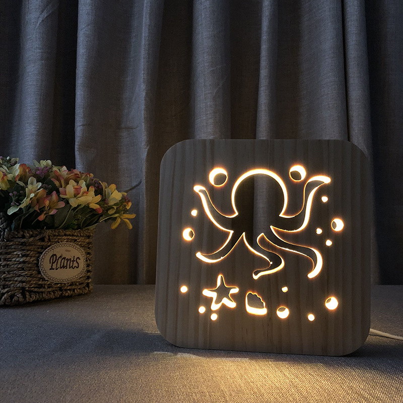 Xmas LED Wood Light 3D Shadow Octopus Cuttlefish Night Light Bedside Lamp Luminaria For Kids Baby Birthday Gift Bedroom Decor led horse shape wood night light nordic chic night lamp for baby bedroom christmas decor photo props kids gift battery powered