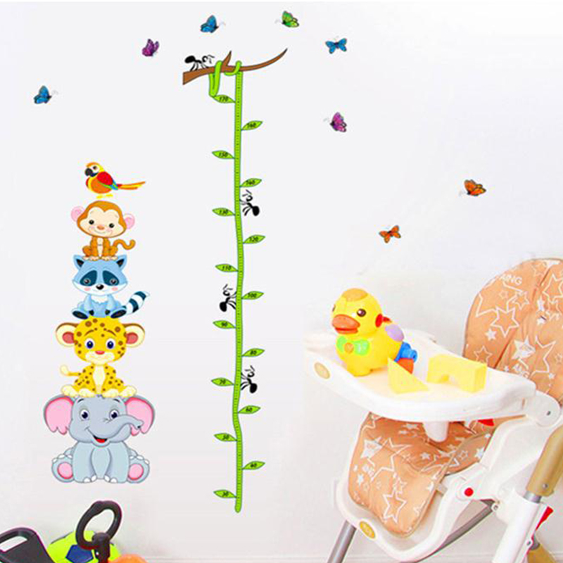 Funny animals zoo monky giraffe bird baby children height for Growth chart for kids room